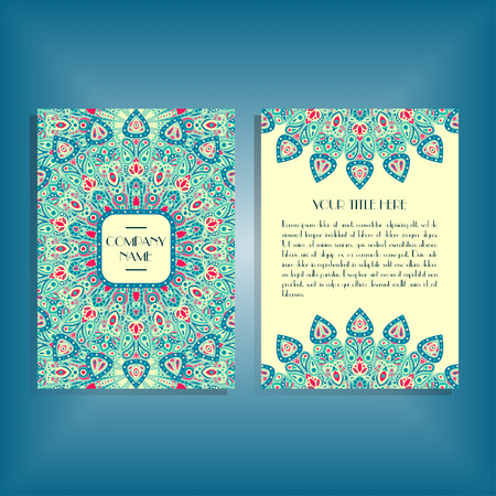 a5: Flyer with blue and red round mandala pattern and ornament. Oriental flyer mockup, floral card design layout template. Size A5. Front and back sides. Editable and movable objects.