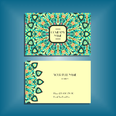 corporate people: Oriental business card mockup with green round mandala pattern and ornament, floral card design layout template. Size 85mm x 65mm. Front and back sides. Editable and movable objects.