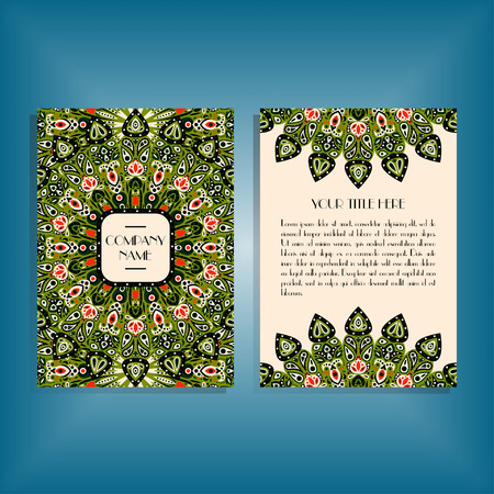 movable: Flyer with round green and red mandala pattern and ornament. Oriental flyer mockup, floral card design layout template. Size A5. Front and back sides. Editable and movable objects. Illustration