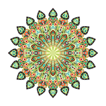 Round mandala. Arabic, Indian, Islamic, Ottoman ornament. Green, yellow and red floral pattern, motif isolated on white background. Vector illustration. Ilustração