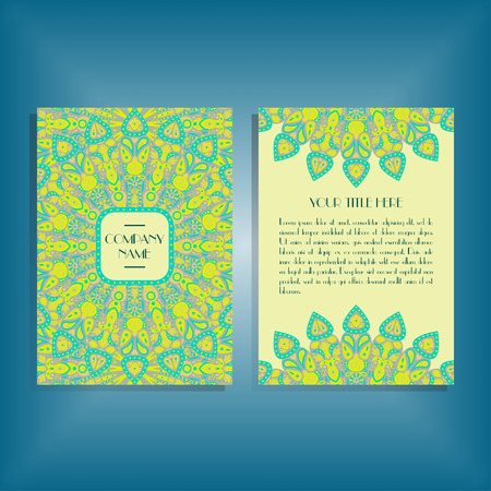movable: Flyer with round yellow and green mandala pattern and ornament. Oriental flyer mockup, floral card design layout template. Size A5. Front and back sides. Editable and movable objects.