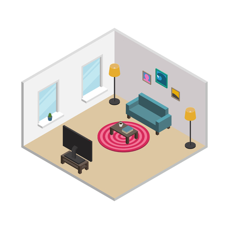Isometric living room with white walls, windows and furnishings: green sofa, round carpet, floor lamps, TV, coffee table, pictures in frames. All objects are movable and separated. Vector illustration