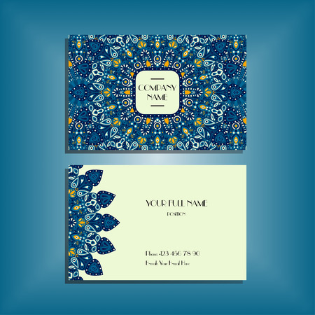 Oriental business card mockup with dark blue round mandala pattern and ornament, floral card design layout template. Size 85mm x 65mm. Front and back sides. Editable and movable objects.