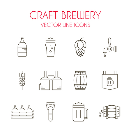 pint: Craft beer and brewery vector line icon set: beer bottle, distillery, beer opener, barrel, beer tap, glass, hop, malt, pint etc.