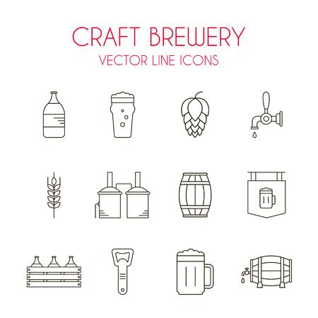 distillery: Craft beer and brewery vector line icon set: beer bottle, distillery, beer opener, barrel, beer tap, glass, hop, malt, pint etc.