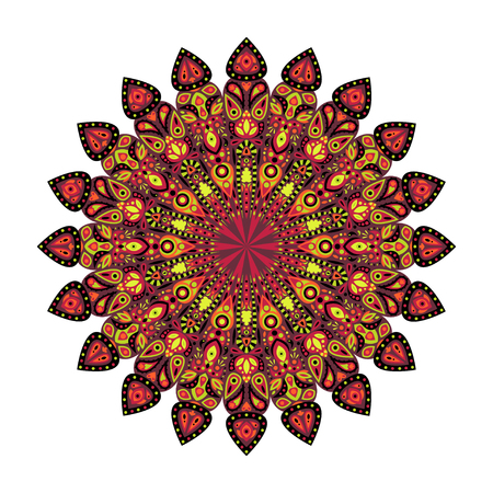 chartreuse: Round mandala. Arabic, Indian, Islamic, Ottoman ornament. Pink and chartreuse floral pattern, motif isolated on white background. Vector illustration.