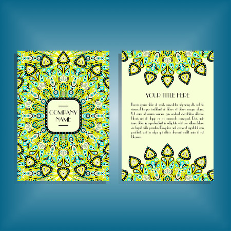 Flyer with blue and green round mandala pattern and ornament. Oriental flyer mockup, floral card design layout template. Size A5. Front and back sides. Editable and movable objects.