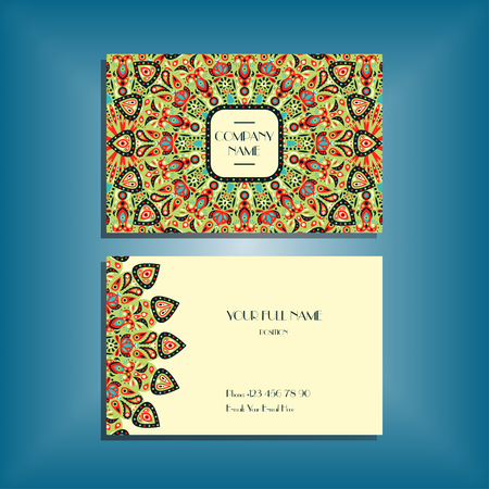 movable: Oriental business card mockup with red and green round mandala pattern and ornament, floral card design layout template. Size 85mm x 65mm. Front and back sides. Editable and movable objects. Illustration