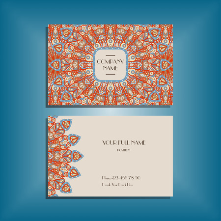 Oriental business card mockup with red and blue round mandala pattern and ornament, floral card design layout template. Size 85mm x 65mm. Front and back sides. Editable and movable objects. Ilustração