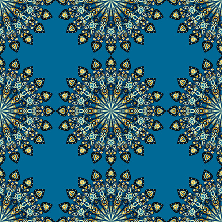 Round mandala seamless pattern. Arabic, Indian, Islamic, Ottoman ornament. Green and blue floral pattern, motif. Vector illustration. Ilustração