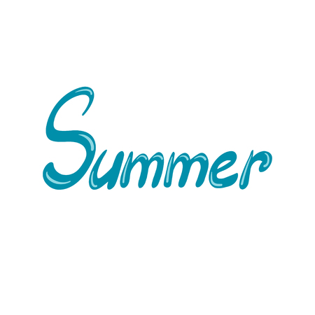 Hand drawn lettering, word Summer isolated on white background. Typographic design. Vector illustration. Ilustração