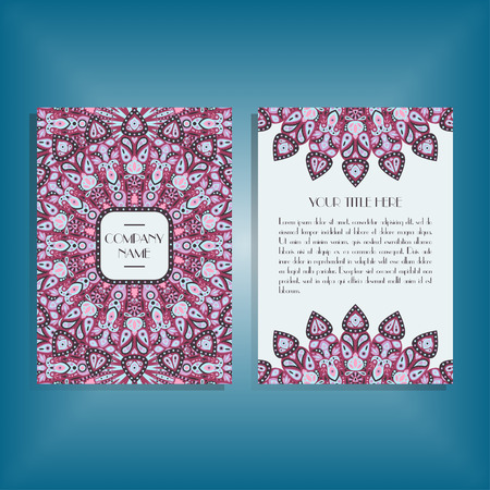 movable: Flyer with round pink and blue mandala pattern and ornament. Oriental flyer mockup, floral card design layout template. Size A5. Front and back sides. Editable and movable objects.