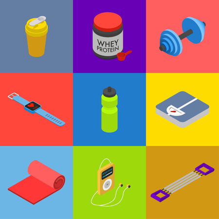 Isometric fitness icon set, movable objects isolated on colorful squares: shaker, whey protein jar, dumbbell, smart bracelet with heart rate monitor, bottle, scales, mat, audio player, hand expander.