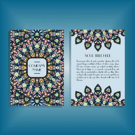 Flyer with green, pink, bue round mandala pattern and ornament. Oriental flyer mockup, floral card design layout template. Size A5. Front and back sides. Editable and movable objects. Ilustração