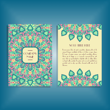 Flyer with round blue, green and pink mandala pattern and ornament. Oriental flyer mockup, floral card design layout template. Size A5. Front and back sides. Editable and movable objects.