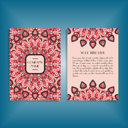 movable: Flyer with round red and pink mandala pattern and ornament. Oriental flyer mockup, floral card design layout template. Size A5. Front and back sides. Editable and movable objects.