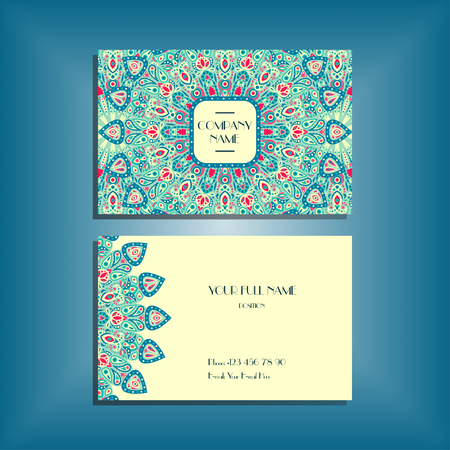 Oriental business card mockup with blue and red round mandala pattern and ornament, floral card design layout template. Size 85mm x 65mm. Front and back sides. Editable and movable objects. Ilustração