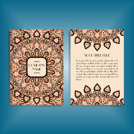 Flyer with round orange mandala pattern and ornament. Oriental flyer mockup, floral card design layout template. Size A5. Front and back sides. Editable and movable objects.
