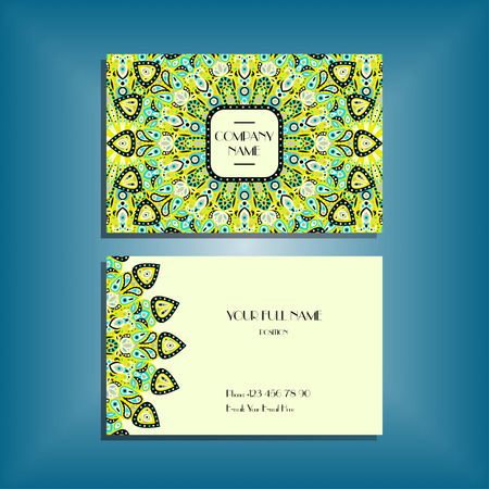 Oriental business card mockup with green and blue round mandala pattern and ornament, floral card design layout template. Size 85mm x 65mm. Front and back sides. Editable and movable objects.