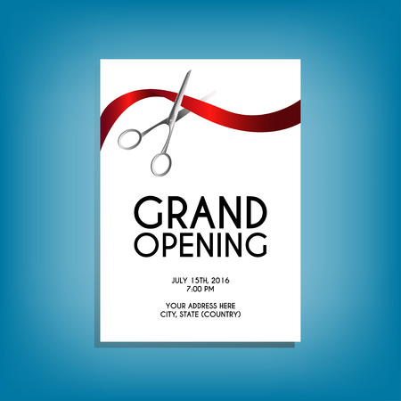 movable: Grand opening flyer mock-up with silver scissors cutting red ribbon isolated on white background, design template for invitations. Size A6. Editable and movable objects.