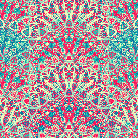 Round mandala seamless pattern. Arabic, Indian, Islamic, Ottoman ornament. Pink and blue floral pattern, motif. Vector illustration. Ilustração