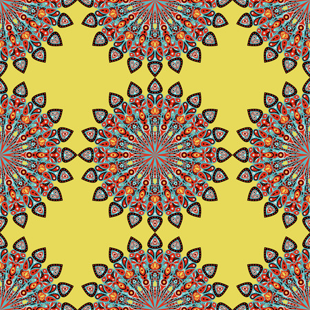 Round mandala seamless pattern. Arabic, Indian, Islamic, Ottoman ornament. Yellow and red floral pattern, motif. Vector illustration. Ilustração