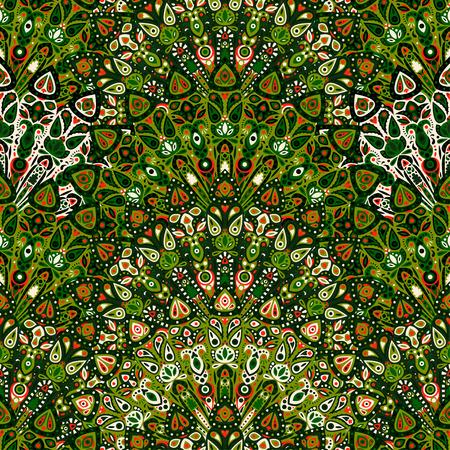 Round mandala seamless pattern. Arabic, Indian, Islamic, Ottoman ornament. Dark green floral pattern, motif. Vector illustration.  イラスト・ベクター素材
