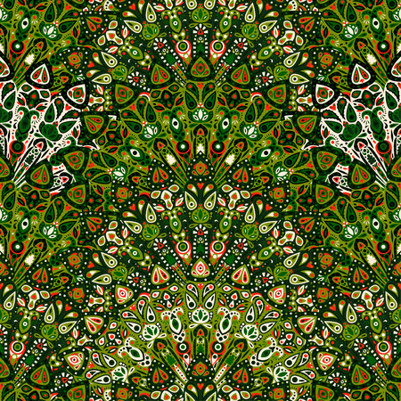 Round mandala seamless pattern. Arabic, Indian, Islamic, Ottoman ornament. Dark green floral pattern, motif. Vector illustration. Ilustração