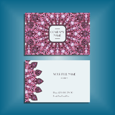 movable: Oriental business card mockup with pink round mandala pattern and ornament, floral card design layout template. Size 85mm x 65mm. Front and back sides. Editable and movable objects. Illustration