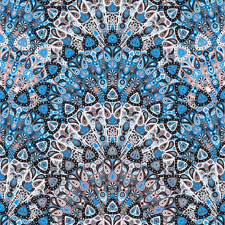 Rond mandala naadloos patroon. Arabisch, Indiaas, Islamitisch, Ottomaans ornament. Blauw bloemenpatroon, motief. Vector illustratie. Stockfoto - 56099536