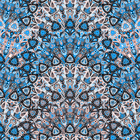 Round mandala seamless pattern. Arabic, Indian, Islamic, Ottoman ornament. Blue floral pattern, motif. Vector illustration.