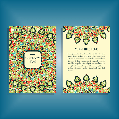 movable: Flyer with round red and green mandala pattern and ornament. Oriental flyer mockup, floral card design layout template. Size A5. Front and back sides. Editable and movable objects. Illustration