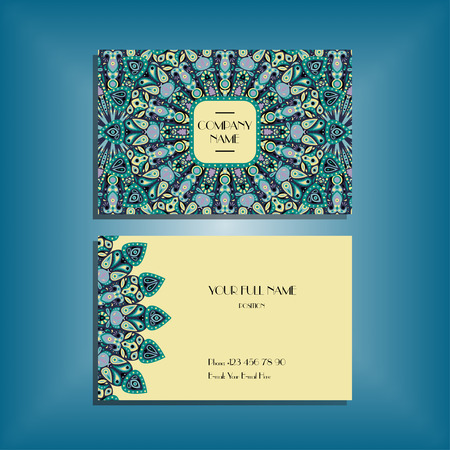 Oriental business card mockup with blue and yellow round mandala pattern and ornament, floral card design layout template. Size 85mm x 65mm. Front and back sides. Editable and movable objects.