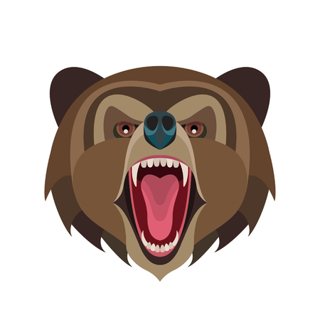 Cartoon roaring bear head isolated on white background, vector illustration for posters, T-shirt prints, postcards etc. Ilustração