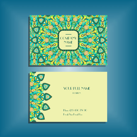 Oriental business card mockup with green round mandala pattern and ornament, floral card design layout template. Size 85mm x 65mm. Front and back sides. Editable and movable objects.