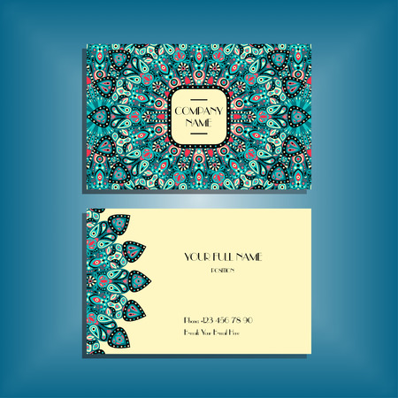 movable: Oriental business card mockup with blue and pink round mandala pattern and ornament, floral card design layout template. Size 85mm x 65mm. Front and back sides. Editable and movable objects. Illustration