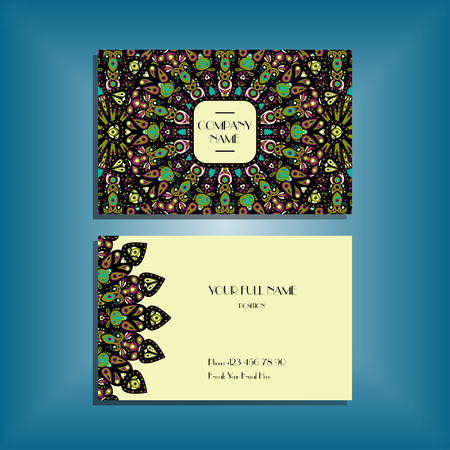 Oriental business card mockup with green and black round mandala pattern and ornament, floral card design layout template. Size 85mm x 65mm. Front and back sides. Editable and movable objects.