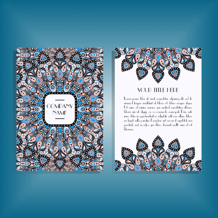 movable: Flyer with blue and gray round mandala pattern and ornament. Oriental flyer mockup, floral card design layout template. Size A5. Front and back sides. Editable and movable objects.
