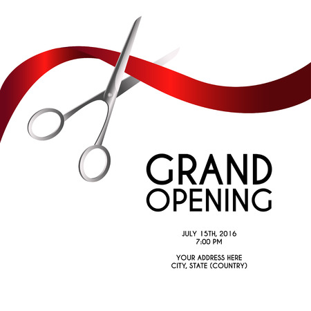 Grand opening poster mock-up with silver scissors cutting red ribbon isolated on white background, design announcement template. Editable and movable objects.