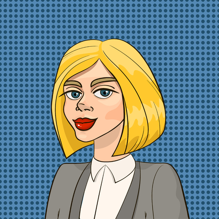 Beautiful blonde woman in business smart suit isolated on seamless blue polka dot background. Vector illustration in pop art retro style for advertising, posters, invitations, prints etc. Ilustração
