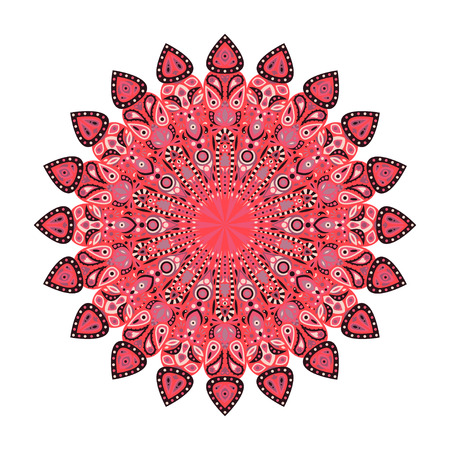 Round mandala. Arabic, Indian, Islamic, Ottoman ornament. Pink and red floral pattern, motif isolated on white background. Vector illustration.
