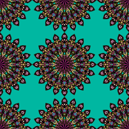 Round mandala seamless pattern. Arabic, Indian, Islamic, Ottoman ornament. Green and red floral pattern, motif. Vector illustration. Ilustração