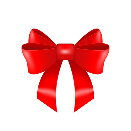 Elegant realistic red bow isolated on white background. Festive satin ribbon. Vector illustration for banner, website, advertisement, party invitation, greeting card.