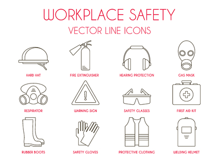 Workplace safety and personal protective equipment thin line icons set: hard hat, hearing protection, gas mask, fire extinguisher, warning sign etc. Vector illustration for website, logo, instruction. Imagens