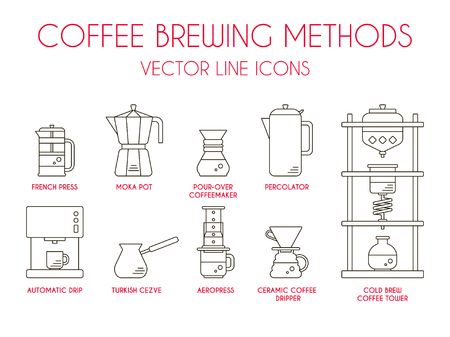 Coffee brewing methods, vector thin line icon set.