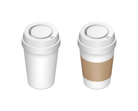 Set of realistic isometric paper coffee cups with and without cardboard sleeve isolated on white background. Vector illustration for cafe advertisement, website banner, poster.