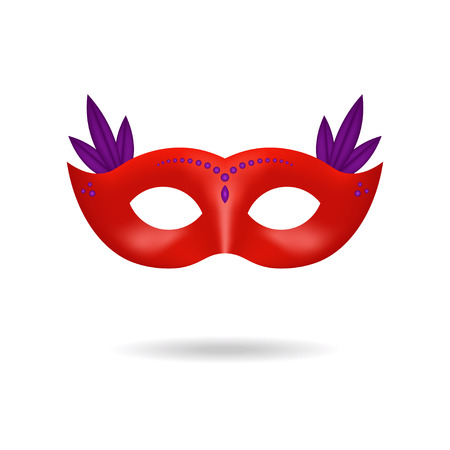 Red Venetian carnival mask decorated with purple feathers and gems isolated on white background. Festive accessory for masquerade party or festival. Vector illustration for invitation, banner.
