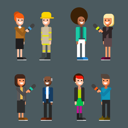 Collection of male and female news reporters, journalists or correspondents interviewing different people - fireman, pop star, politician, punk girl. Funny cartoon characters. Vector illustration. Imagens
