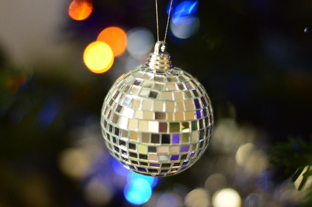 mirrored: Silver mirrored Christmas bauble