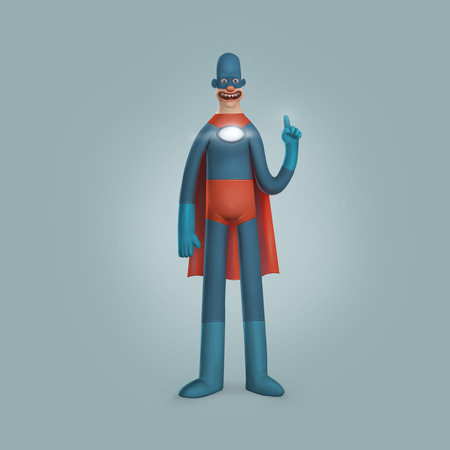 suite: Male Superhero Wearing Blue Red Suite Illustration